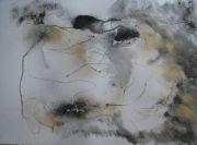 IMG3916-Manchots, 57cm x 77cm, technique mixte, papier arches, graphite, poussière d'or, 2014